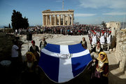 Flag raising ceremony on Acropolis hill on the 72nd anniversary of the liberation of the city of Athens from the German army. On October 12, 2016 / Τελετή ανύψωσης της σημαίας για την 72η επέτειο της απελευθέρωσης της Αθήνας απο τον Γερμανικό στρατό. Τετάρτη 12 Οκτωβρίου 2016