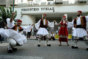 Protest rally by workers and employees of public hospitals, outside the Health Ministry, in Athens on June 29, 2016. Wearing convict uniforms and traditional costumes with songs and dances, demonstrate against the underfunding and understaffing of the national health system.   / Συγκέντρωση διαμαρτυρίας εργαζόμενων στα δημόσια νοσοκομεία, στο πλαίσιο της τετράωρης στάσης εργασίας που πραγματοποιούν.  Φορώντας στολές  καταδίκων και παραδοσιακά κοστούμια με τραγούδια και χορούς διαμαρτύρονται έξω από το υπουργείο Υγείας για την υποχρηματοδότηση και υποστελέχωση του ΕΣΥ. Τετάρτη 29 Ιουλίου 2016
