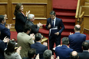 New Democracy deputies applaud opposition leader Kyriakos Mitsotakis after his speech during a debate at the Greek Parliament on the social security and tax bill. In Athens, Greece, on May 8, 2016 / Συζήτηση του νέου ασφαλιστικού στην ολομέλεια της Βουλής, Κυριακή 8 Μαίου 2016