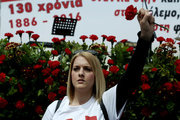 Supporters and members of the communist affiliated union All Workers Militant Front (PAME) take part in a protest rally to mark May Day at Synrtagma square, central Athens, on May 8, 2016. May Day celebrations were postponed due to the holiday for the Orthodox Easter. / Συγκέντρωση του ΠΑΜΕ για την Πρωτομαγιά στο Σύνταγμα, την Κυριακή 8 Μαίου 2016