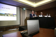 From left: George Burns, President and chief executive officer of Eldorado Gold corporation, Eduardo Mura, Vice President and general manager, Greece Eldorado Gold and Dimitris Dimitriadis Vice President and managing director of Hellas Gold, during a press conference, in Athens on September 11, 2017. Eldorado Gold announced on Monday that it will suspend its operations in Greece, following a three months of unsuccessful negotiations and talks with the energy and environment ministry. / Συνέντευξη τύπου της καναδικής Eldorado Gold και της ελληνικής θυγατρικής της, Ελληνικός Χρυσός, μετά την απόφαση να σταματήσουν τις δραστηριότητες τους στην εξόρυξη μεταλλευμάτων σε Χαλκιδική και Θράκη. Αθήνα 11 Σεπτεβρίου 2017
