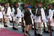 A female officer inspects the Presidential guard before the official reception ceremony of Boulgarian President Rumen Radev, in Athens on June 23, 2017. / Υποδοχή του προέδρου της Βουλγαρίας στο προεδρικό μέγαρο, Αθήνα 23 Ιουνίου 2017
