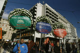 Employees of municipalities of Attica demonstrate against the new  austerity measures, carrying wreaths with the names of Samaras, Venizelos and Kouvelis, depicting  the government`s  funeral. In Athens on 22, 2012  / Εργαζόμενοι των δήμων της Αττικής διαδηλώνουν κατά των νέων μέτρων, μεταφέροντας στεφάνια με τα ονόματα των Αρχηγών των τριών κομμάτων που στηρίζουν την Κυβέρνηση αναπαριστώντας την κηδεία της.