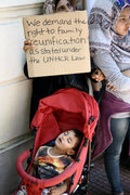 Protest rally by refugees and immigrants outside the German embassy in Athens on Wednesday 19 July 2017. Refugees, mainly Syrians from the refugee camps of Ritsona and Skaramagas complain about the delays in the family reunification program. /  Συγκέντρωση διαμαρτυρίας απο πρόσφυγες και μετανάστες, έξω από τη γερμανική πρεσβεία στην Αθήνα, την Τετάρτη 19 Ιουλίου 2017. Οι πρόσφυγες κυρίως Σύριοι, από τα κέντρα φιλοξενίας της Ριτσώνας και του Σκαραμαγκά διαμαρτύρονται για τις καθυστερήσεις που παρατηρούνται στο πρόγραμμα επανένωσης οικογενειών.
