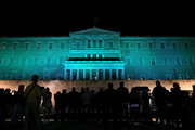 Illumination of the Greek Parliament in green, in order to mark the start of the international agreement in Paris on Climate Change. Athens on November 4, 2016  / Φωταγώγηση του Ελληνικού Κοινοβουλίου με πράσινο χρώμα, με στόχο να σηματοδοτήσει την έναρξη ισχύος της διεθνούς Συμφωνίας του Παρισιού για την Κλιματική Αλλαγή.Παρασκευή 4 Νοεμβρίου 2016
