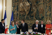 PM Alexis Tsipras, wife of Greek President Vlassia Pavlopoulou,President Emmanuel Macron, Greek President Prokopis Pavlopoulos and Brigitte Macron, during a state dinner at the Presidential mansion, in Athens on September 7, 2017.   / Δείπνο στο προεδρικό μέγαρο, Αθήνα 7 Σεπτεμβρίου 2017