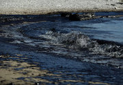 """Oil spill spreads to Athens riviera after a small tanker sank in the early hours of Sunday morning, the tanker """"Agia Zoni II"""" is thought to have been carrying 2,200 metric tons of fuel oil and 370 metric tons of marine gas oil. On September 14, 2017 / Ρύπανση στο Σαρωνικό μετά τη βύθιση δεξαμενοπλοίου. Εικόνες απο την ακτή Αγίου Κοσμά την Πέμπτη 14 Σεπτεμβρίου 2017"""