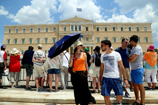 Tourists in central Athens