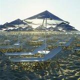 Sunbeds and parasols on a beach in Rethymno, Crete, Greece, 2002 / Ομπρέλες και ξαπλώστρες σε παραλία στο Ρέθυμνο, Κρήτη 2002