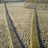Wooden pathways on a beach in Rethymno, Crete, Greece, 2002 / Ξύλινοι διάδρομοι σε παραλία στο Ρέθυμνο, Κρήτη 2002