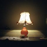Side lamp with lampshade, Neohori of Erissos, Kefalonia island, Greece, August 2011 / Φωτιστικό με αμπαζούρ, Νεοχώρι Ερίσσου, Κεφαλονιά, Αύγουστος 2011