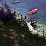Boat moored at the bay of St. Sophia, Komitata, Erissos area, Island of Kefalonia, Greece, August 2011 / Βάρκα δεμένη στο λιμανάκι της Αγίας Σοφίας, Κομιτάτα Ερίσσου, Κεφαλονιά, Αύγουστος 2011