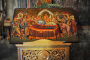 Picture representing the Assumption, copying the old fresco of the Holy Church of Mary's Dormition, Kalambaka, Thessaly, Greece, June 2013 / Εικόνα που αναπαριστά την Κοίμηση της Θεοτόκου, αντιγραφή της παλαιάς τοιχογραφίας του ναού της Κοιμήσεως της Θεοτόκου, Καλαμπάκα, Θεσσαλία, Ιούνιος 2013