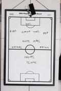 Note board of a football team coach, Greece, October 2006 / Πίνακας προπονητή ποδοσφαιρικής ομάδας, Ελλάδα, Οκτώβριος 2006