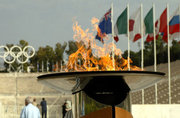 The Olympic Flame in front of the Panathinaiko Stadium, the stadium  where the first modern Olympics took place in 1896, Athens, Greece, June 2004 / Η Ολυμπιακή Φλόγα μπροστά από το Παναθηναϊκό Στάδιο, Αθήνα, Ιούνιος 2004