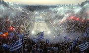 Great celebration at the Panathenaic stadium in Athens, Greece, during the reception of the National football team won the European Cup in EURO 2004 tournament, July 2004 / Μεγάλη γιορτή στο Καλλιμάρμαρο στάδιο στην Αθήνα για την υποδοχή της Εθνικής ομάδας ποδοσφαίρου που κατάκτησε το κύπελλο στο EURO 2004, Ιούλιος 2004