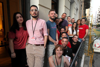 Volunteers at the offices of Red Umbrella Athens