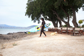 Nisakia, beach bar, hangout for surfers and windsurfing school, Loutsa, Attica